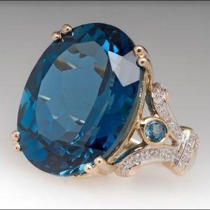 18K Goldfilled London Blue Topaz Fashion Ring